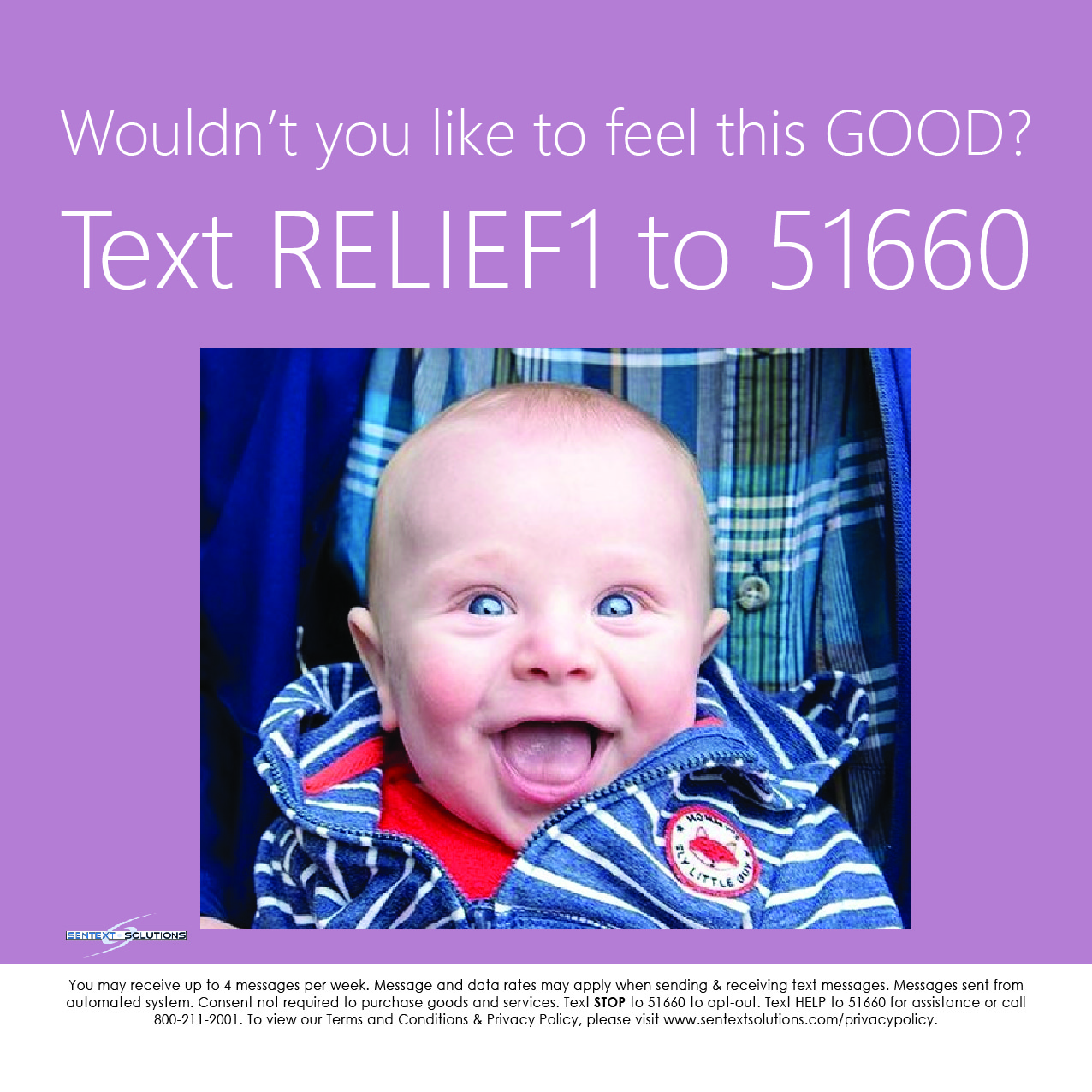 Text RELIEF1 to 51660 Baby Smiling Image